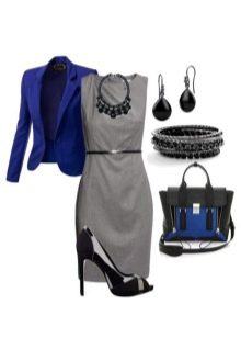 Синие туфли и пиджак к платью серого цвета