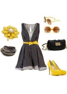Серое платье в сочетание с желтым