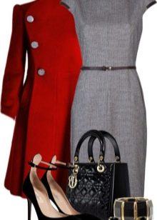Серое платье с красным