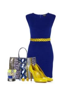 Желтые туфли к платью темно-синего цвета