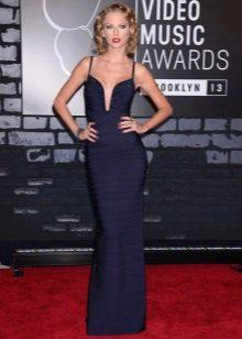 Длинное вечернее темно-синее платье