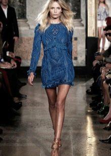 Кружевное платье темно-синего цвета