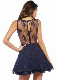 Гипюровое платье темно-синего цвета
