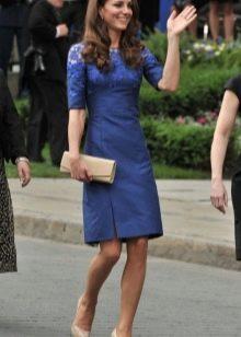 Темно-синее платье длины миди