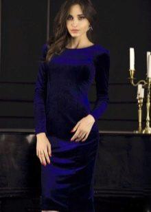 Бархатное платье темно-синего цвета
