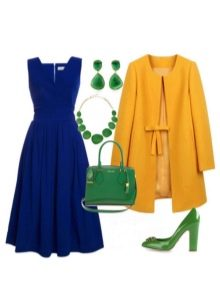 Темно-синее платье с зелеными аксессуарами