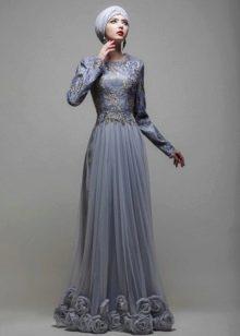 Свадебный хиджаб от Тулипии серый