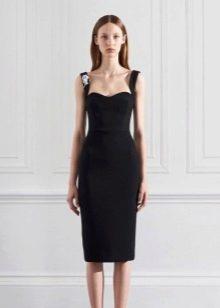 Платье футляр вечернее до колен черное на бретелях