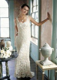 Вязаное платье в пол свадебное