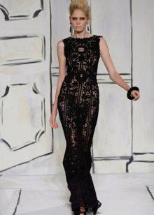 Прямое черное вязаное платье