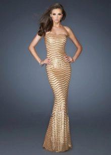 Золотое платье без бретелей (бюстье)