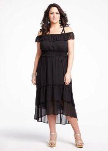 Черное платье с ассиметричной юбкой для полных