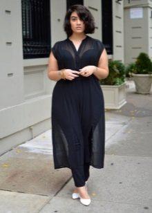 Черное прозрачное платье для полных в сочетание с белыми лодочками