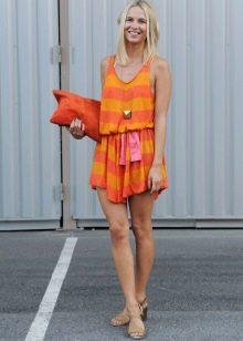 Летнее трикотажное цветное платье