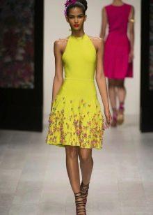 Цветное платье короткое с американской проймой