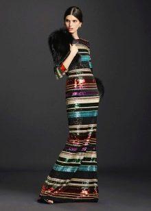 Цветное платье с шарфом