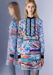 Платье рубашка цветное короткое