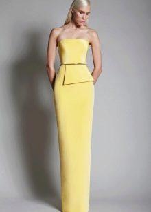 Серо-желтое платье для блондинки