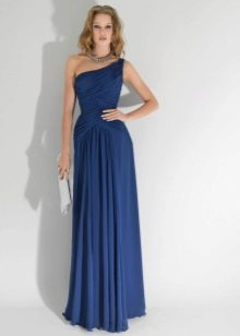 Синее платье в пол для блондинки