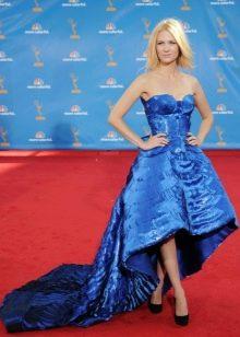 Синее платье хай-лоу