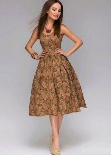 коричневое офисное платье миди