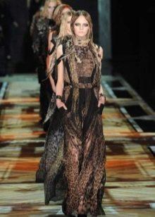 Коричнево-черное платье с леопардовым принтом