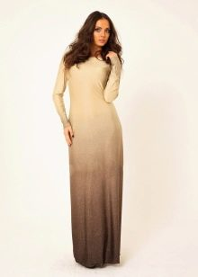 Коричнево-бежевое платье
