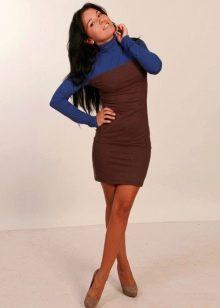 Коричнево-синее платье
