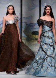 Коричневое платье с голубым