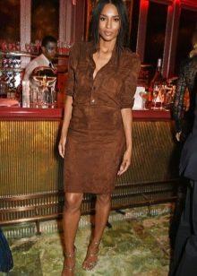 Замшевое кожаное платье