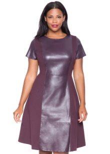 Платье для полных с кожаными вставками