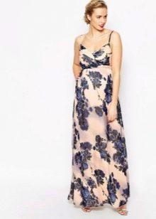 Длинное платье для беременных из батиста