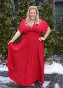 Красное платье длинное в пол платье для полных женщин