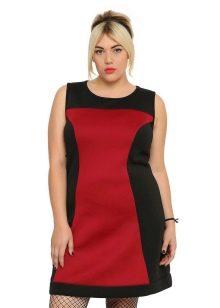 Красное-черное платье для полных женщин