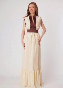 Длинное молочное платье с бронзовыми втавками