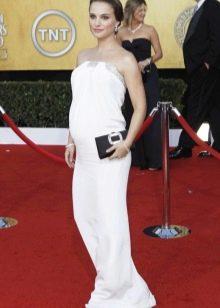 Белое в герческом стиле платье для беременных на свадьбу