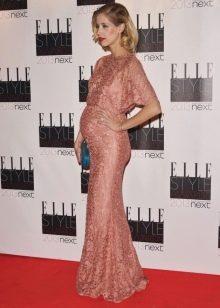 Праздничное платье розового цвета для беременных