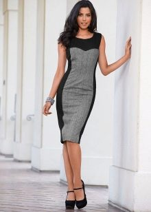 Комбинированное черно-серое офисное платье