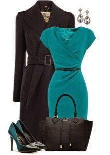Бирюзовое офисное платье, туфли и аксессуры к нему
