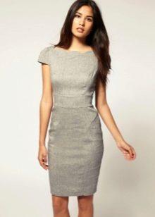 Офисное платье серого цвета