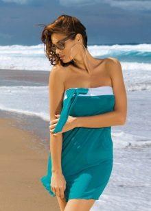 Платье цвета морской волны с белым