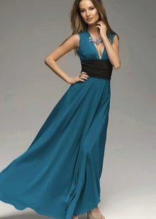 Платье цвета морской волны с черным
