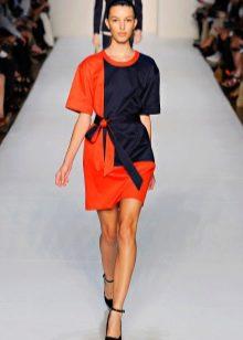 Платье двухцветное короткое