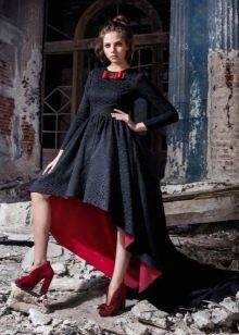 Двухцветное платье вечернее короткое спереди длинное сзади