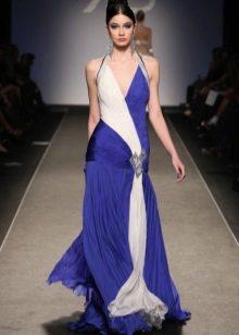 Синее платье с белой вставкой