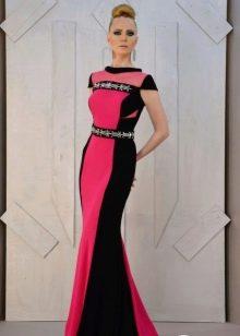Платье в пол с боковыми вставками