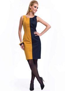 Желто-синее короткое платье
