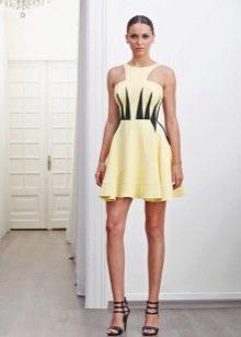 Короткое желто-черное платье