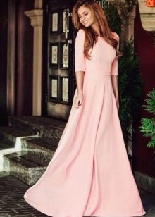 Персиковое платье в пол закрытое