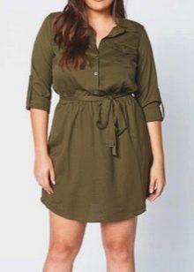 Платье-туника цвета хаки в стиле сафаридля полных